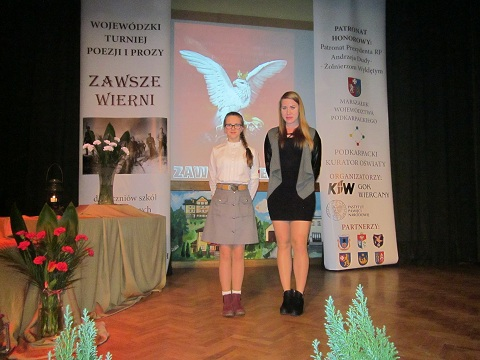 """Zespół Szkół w Chorzelowie Wyróżnienie dla Julii Sosińskiej w Wojewódzkim Turnieju """" Zawsze Wierni"""""""