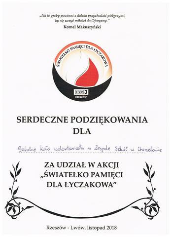 Zespół Szkół w Chorzelowie Światełko Pamięci dla Łyczakowa