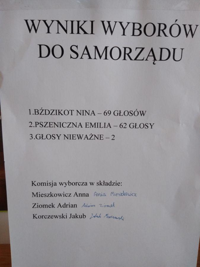 Zespół Szkół w Chorzelowie Przewodnicząca wybrana!